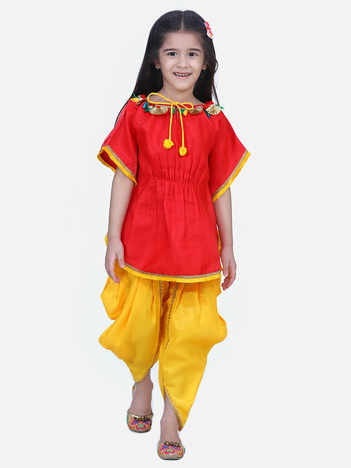 Kidswear Girls Bow n Bee Indo western Festive Kaftan Dhoti in Red