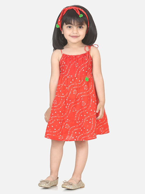 Bow N Bee Girls Bandhani Print Tier Cotton Frock with Headband in Red