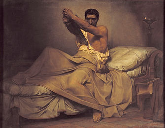 Ce tableau représente la mort de Caton d'Utique, ou plutôt son suicide. Il pourrait avoir un beau rendu sur un t-shirt d'histoire Hommes de l'Ouest, made in France de surcroît