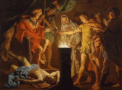 Ce tableau représente l'exploit du jeune Scaevola, patricien romain, face au roi étrusque Porsenna. Il faudrait songer à le représenter sur un t-shirt d'histoire Hommes de l'Ouest