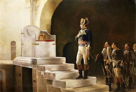 Ce tableau représente Napoléon au trône de Charlemagne. Il est difficile de le retranscrire sur un t-shirt d'histoire. Appliqué en tant qu'imprimé d'histoire sur un tee-shirt d'histoire, il n'est que peu esthétique, même si c'est un t-shirt d'histoire fabriqué en France.
