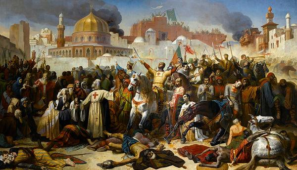 Ce tableau représente la prise de Jérusalem par les Croisés. Il est difficile de le retranscrire sur un t-shirt d'histoire. Appliqué en tant qu'imprimé d'histoire sur un tee-shirt d'histoire, il n'est que peu esthétique, même si c'est un t-shirt d'histoire fabriqué en France.