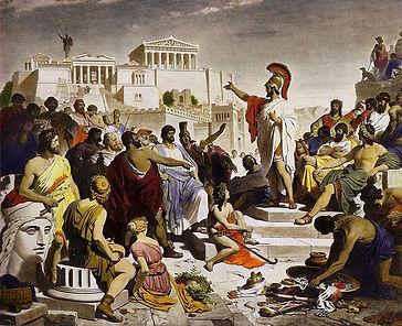 Ce tableau de Philipp von Foltz, créé en 1852, s'appelle L'Âge de Périclès. Il serait une excellente base pour créer un t-shirt Grèce antique made in France. Un t-shirt Achille a été créé sur un modèle qui ressemble à la statue de Périclès.
