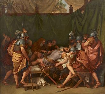 Ce tableau, intitulé La Mort d'Epaminondas a été créé par Laurent Pécheux en 1795. Il serait un bon modèle pour créer un t-shirt d'histoire fabriqué en France. Toutefois, il était préférable de choisir une représentation plus centrée et parlante pour créer un t-shirt Grèce antique. C'est comme cela que le t-shirt Achille a été créé.