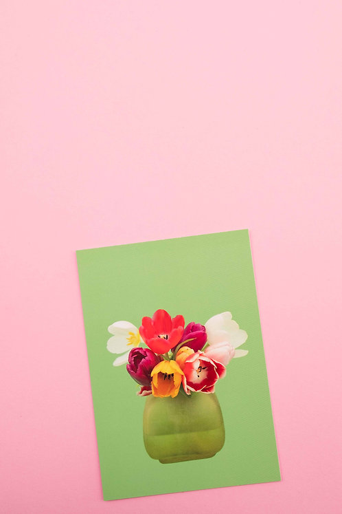 """farbige Tulpen"" Postkarte"