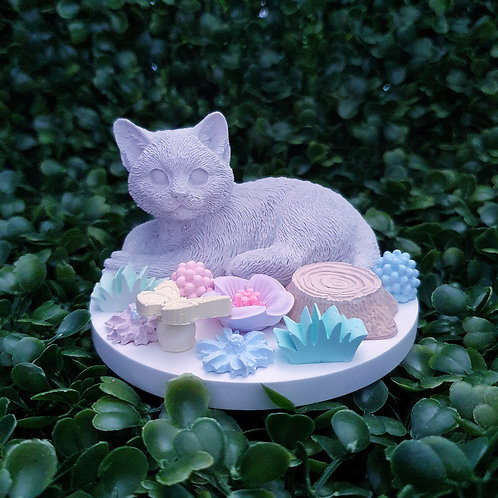 Lying cat w flowers