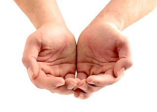 Hands receiving donation