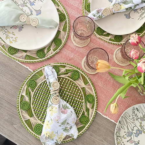 Iraca Caracol Green & Natural Placemat Round
