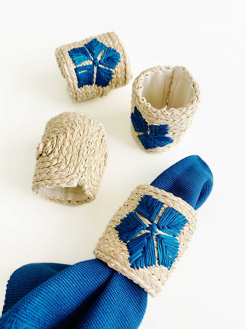 Iraca Embroidered  Blue Napkin Rings