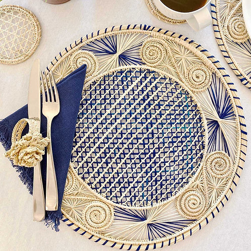 Iraca Caracol Blue & Natural Placemat Round