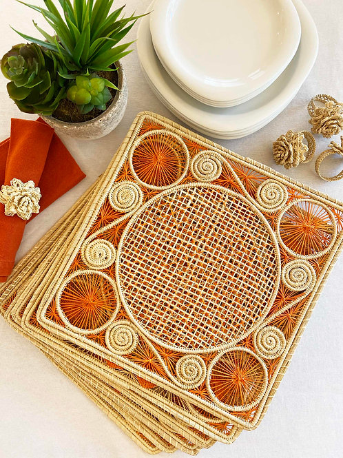 Iraca Caracol Natural & Orange Placemat Square
