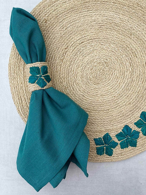 Iraca Embroidered Teal Napkin Rings