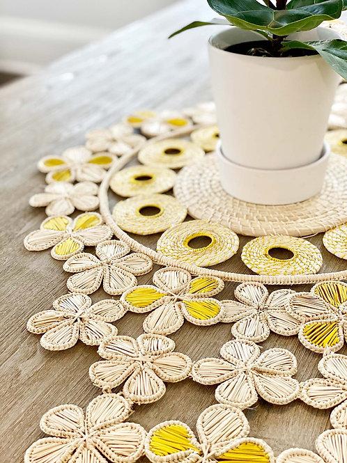 Iraca Flower Table Runner Yellow