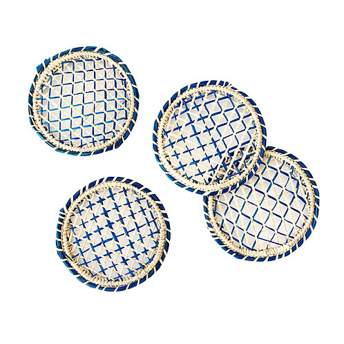 Iraca Classic Coasters Round Natural & Blue