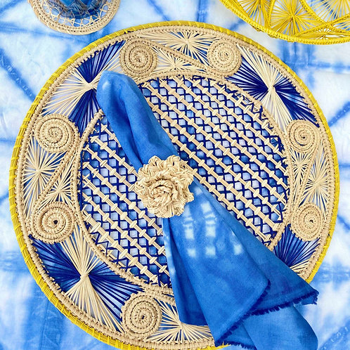 Iraca Caracol Blue & Yellow Placemat Round