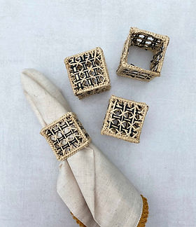 Iraca Palm Square Napkin Rings