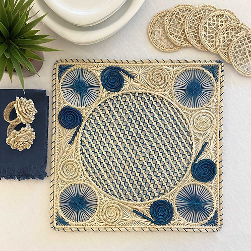 Iraca Caracol Natural & Blue Placemat Square