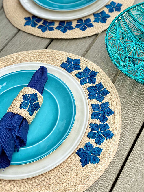 Iraca Embroidered Blue Flower Placemat