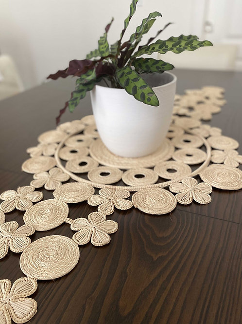 Iraca Table Runner Flowers Natural