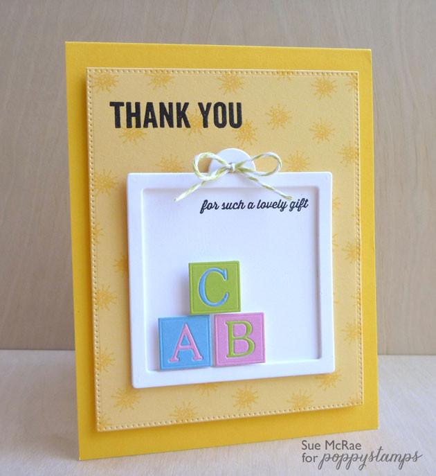 PoppyStamps, Sue McRae, Thank You Card