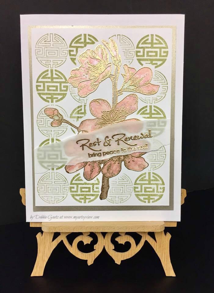 Local King Rubber Stamps, Magenta Style, US ArtQuest, IMAGINE Crafts' VersaMark by Tsukineko, Ranger, Asian Card, Watercolor, My Sweet Petunia, MISTI