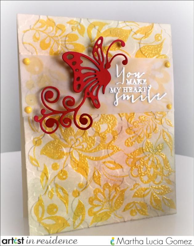 IMAGINE Crafts, Martha Lucia Gomez, Brilliance pigment ink, Double Embossing, VersaMark, VersaMagic