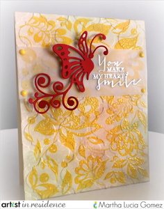 IMAGINE Crafts, Martha Lucia Gomez, Brilliance pigment ink, Double Embossing, VersaMark, VersaMagic