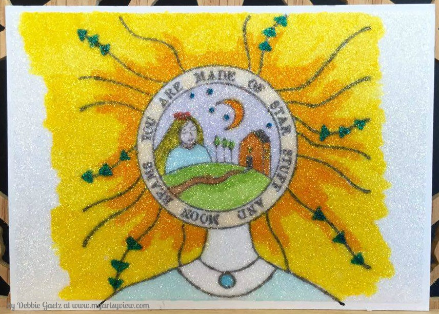 RubberMoon Stamps, RubberMoon Mail Club, Copic Markers, Elizabeth Craft Designs, Microfine Silk Glitter, IMAGINE Crafts' Memento Dye Ink