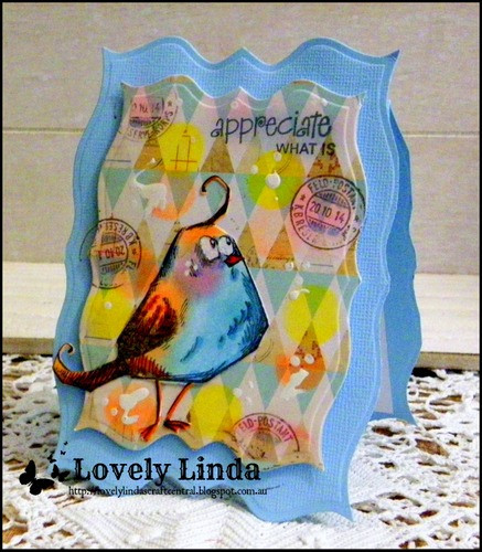 Lovely Linda Lucas, Spellbinders, Tim Holtz Crazy Bird Stamps