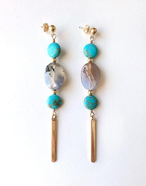 Turquoise Moss Agate Earrings