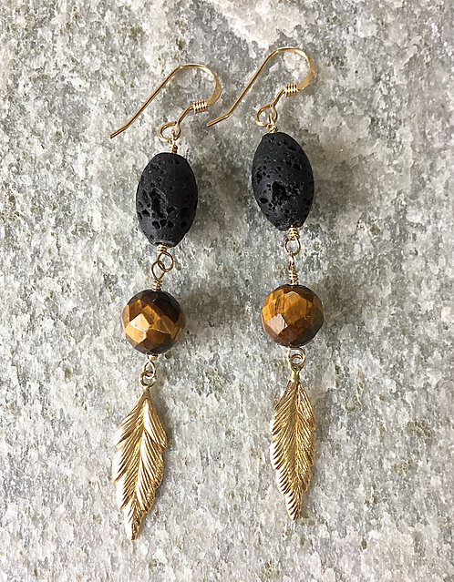 Tiger & Leaf Earrings