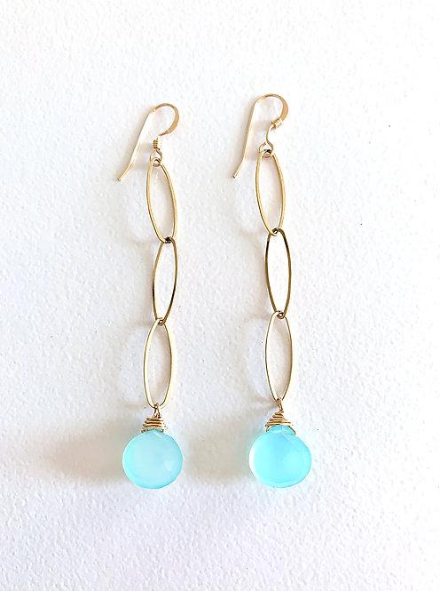Chalcedony Oval Link Earrings