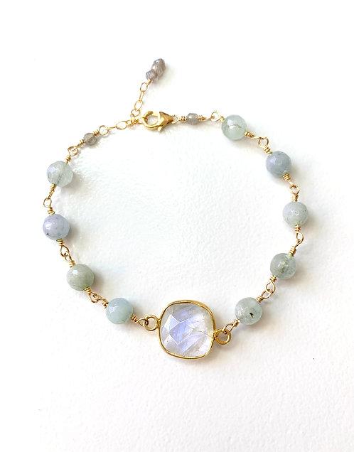 Moonstone Aquamarine Bracelet
