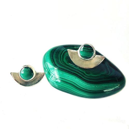 Malachite Moon Earrings