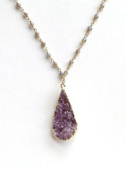 Amethyst Druzy Drop Necklace