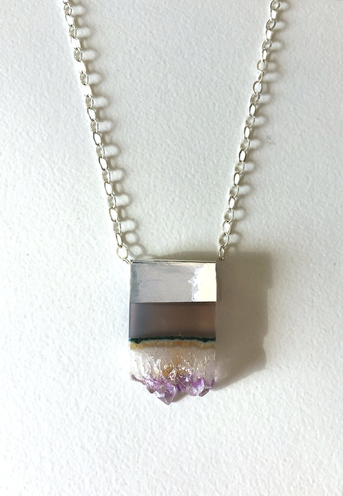 Amethyst Druzy Slice Necklace