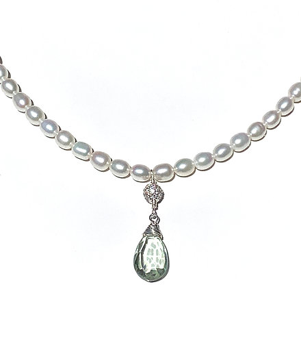 Pearl Green Amethyst Necklace