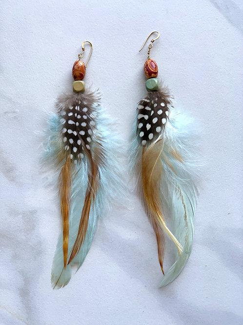 Polkadot Feather Earrings