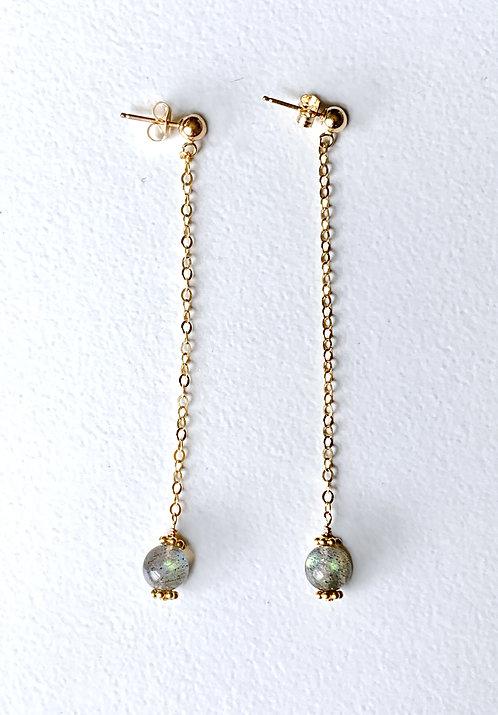 Labradorite Crystal Ball Earrings