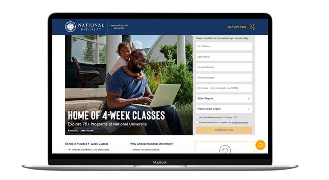 National University Paid Media Landing Page