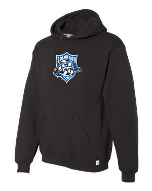 RUSSELL DRI POWER HOODIE BLK with Ice Badge