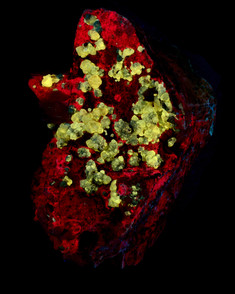Cerussite on Dolomite crystals from Morocco.