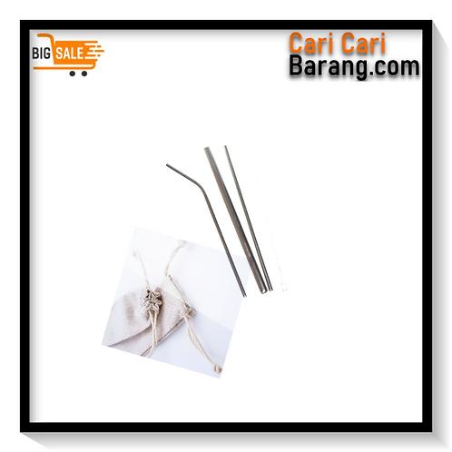 Sedotan Stainless Straw Silver Set