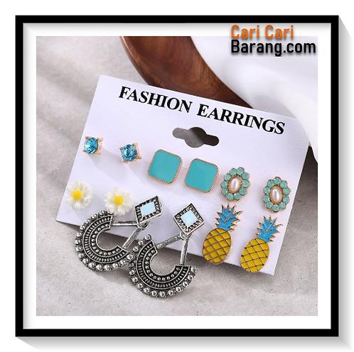 Anting Tusuk Set 6 Motif Bunga,Nanas,Shape - Set Earrings