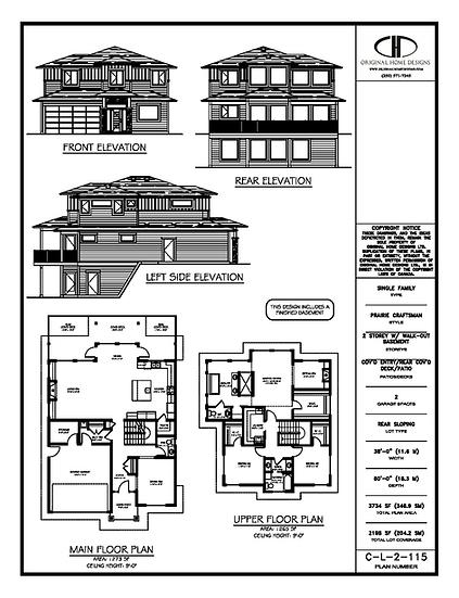 Stock Plan | Prairie Craftsman | Presentation Set | BC Building Code