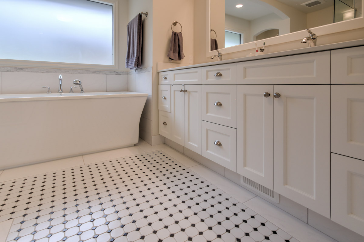 Bathroom Renovation, Black & White Tile, Diamond Patterns, Kamloops, BC