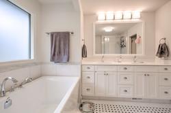 Bathroom Renovation, Black & White Tile, Diamond Patterns, Kamloops, BC