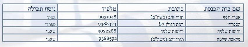 מועצה דתית ראש העין - רשימת בתי הכנסת