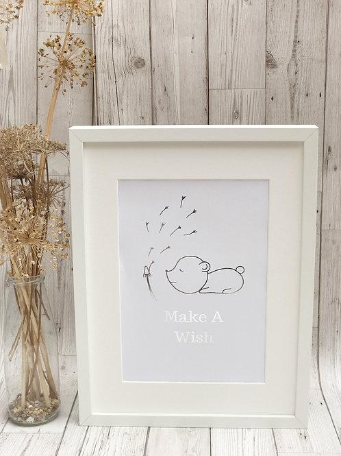 'Make A Wish' A4 Unframed Foil Print