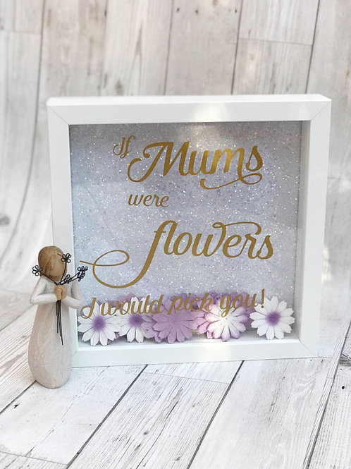 Glitter Backed Mum Box Frame With Flowers
